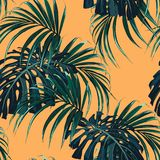 Tropical background with jungle plants. Seamless vector tropical pattern with dark green palm leaves. On yellow background vector illustration