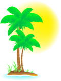 Tropical background with palm, beach and sun Royalty Free Stock Photo
