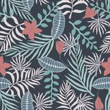 Tropical background with palm leaves and flowers. Seamless flora. L pattern. Summer vector illustration Stock Image