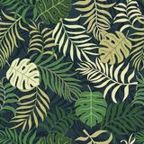 Tropical background with palm leaves. Seamless floral pattern. S Royalty Free Stock Images