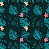 Tropical background with palm leaves. Seamless floral pattern. Summer illustration. Flat jungle print stock illustration