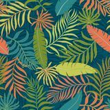 Tropical background with palm leaves. Seamless floral pattern. S Royalty Free Stock Photos