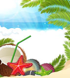 Tropical background with  palm trees and coconut cocktail Royalty Free Stock Images