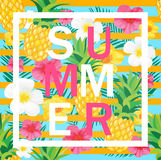 Tropical Background with Pineapple, Exotic Flowers. Summer Letters. Royalty Free Stock Images