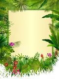 Tropical background with rectangle floral frame in concept bamboo Royalty Free Stock Image