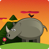 Tropical background with rhinoceros Stock Photos