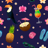Tropical Background. Seamless Pattern with Cocktail, Pineapple Stock Images