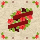 Tropical background with stylized hibiscus flowers Stock Photos