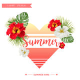Tropical  Background. Summer Design. Girl T-shirt Fashion vector Graphic. Tropical retrò background for t-shirts, heart Royalty Free Stock Image