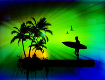 Tropical background with surfer Royalty Free Stock Photography