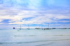 Tropical background with white sand beach. Blue sea and perfect sky Stock Photography