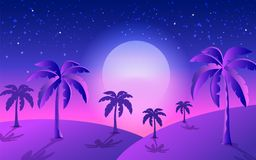 Tropical banner full moon royalty free illustration