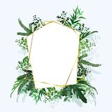 Tropical banner with green palm leaves on white background. Seasonal poster in trendy paper cut style. Design template for print stock photo