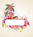 Tropical banner with palms and toucan Stock Photo