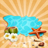 Tropical banner with seashells, starfish Stock Image
