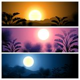 Tropical banners set landscape, sun, moon and palm Stock Photography