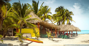 Tropical bar on a beach on Cozumel island, Mexico Stock Photography