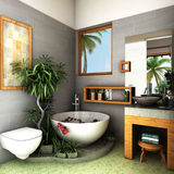 Tropical bathroom. Interior design rendering of tropical bathroom Stock Photography