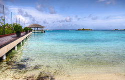 Tropical bay. Bay of Hudhuranfushi island - Maldives Stock Photography