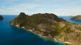 The beautiful bay aerial view. Tropical islands. Tropical bay in El Nido.Aerial view: bay and the tropical islands. Tropical landscape.Sky and mountains rocks stock video