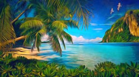 Tropical bay with green plants, palms and seagulls. Tropical bay with green plants, palms and mountain. Digital painting. Digital imitation of oil painting Royalty Free Stock Image