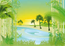 Tropical bay. An illustration of a tropical bay Stock Photography