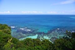 Tropical bay at Ocho Rios, Jamaica. Tropical bay with coral reef at Ocho Rios, Jamaica royalty free stock images