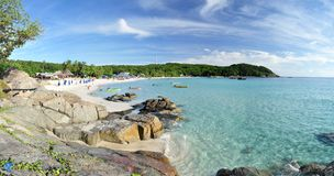 Tropical bay. Panorama of Long Beach on the Small Perhentian Island (Perhentian Kecil) in Malaysia stock photos
