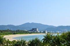 Tropical Bay. View over the tropical bay at Nago Beach at Okinawa in Japan stock photo
