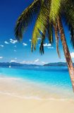 Tropical beach. With palms and azure water, Thailand Royalty Free Stock Images