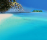 Tropical Beach. Atoll Island with Tropical Beach Stock Images