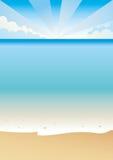 Tropical beach. Scene with sand sea and blue sky vector illustration