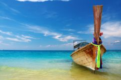 Tropical beach. With thai longtail boat, Andaman Sea, Thailand Stock Images