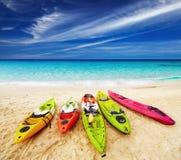 Tropical beach. Colorful kayaks on the tropical beach, Thailand Stock Photo