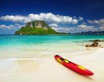 Tropical beach. Colorful kayak on the tropical beach, Thailand Stock Photography