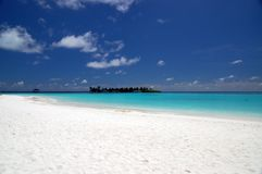 Tropical beach. On the maldives with island in the vincinity Stock Image