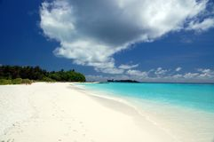 Tropical beach. On the maldives with white sand, turquoise water and coconut palm trees Royalty Free Stock Photos
