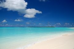 Tropical beach. On the maldives with white sand and turquoise water Stock Images