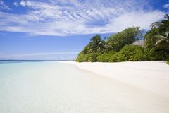 Tropical Beach. Transparent water on foreground royalty free stock photos