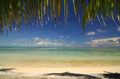 Tropical beach. Beach with coconut leaves framing Royalty Free Stock Photography