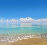 Tropical Beach. Paradise Tropical Beach and blue sky royalty free stock photos