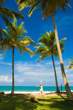 Tropical beach. Woman under the palms on the tropical beach Stock Images