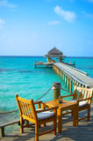 Tropical beach. Jetty on the tropical beach Stock Photography