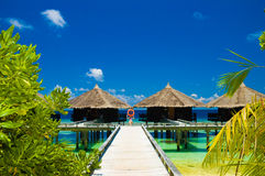 Tropical beach. Pathway to water bungalows on the tropical beach royalty free stock images
