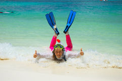 Tropical beach. Happy snorkeler on the tropical beach Stock Images