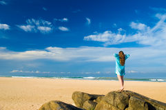 Tropical beach. Woman on the tropical beach stock photography