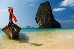 Tropical beach. Long tail boat, Thailand Stock Photography