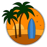 Tropical beach. Blue surfboard on tropical beach at sunset Stock Photo