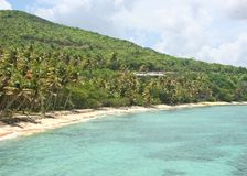 Tropical Beach. Industry Bay in Bequia, St. Vincent and the Grenadines Stock Image