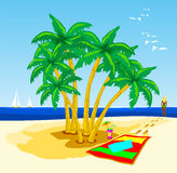 Tropical beach. This vector illustration depicts a tropical beach with palm trees and a girl who is close to water Stock Image